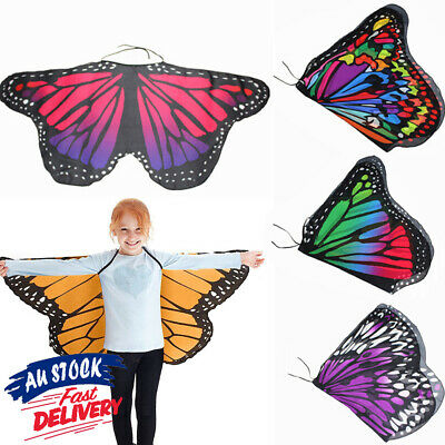 Butterfly Wings Costume Baby Fairy Kid Girl Cape Princess Shawl Holloween Cloak
