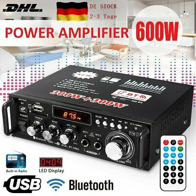 600W Stereo Verstärker Bluetooth Digital Power FM HiFi Audio Amplifier DE STOCK