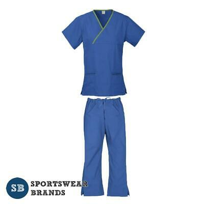 Ladies Contrast Scrub Set-Nurse Doctor Vet Medical Uniform Pant Shirt Royal Lime