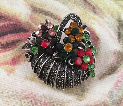 Vintage Jewellery Silver Brooch Pin Crystals Marcasites Antique Dress Jewelry