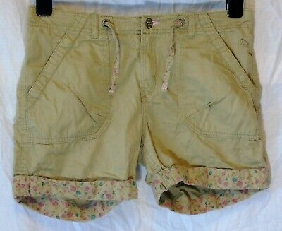 Girls H&M Beige Light Brown Ditsy Turn Ups Cargo Cotton Shorts Age 12-13 Years