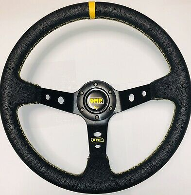 New 350mm Leather EFF Deep Dish Steering Wheel Yellow Stripe Universal Race
