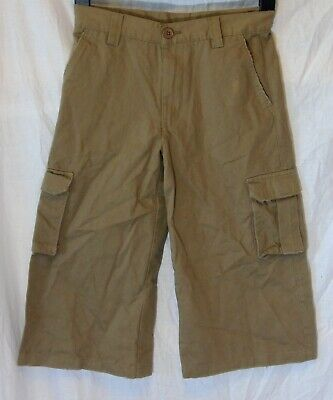 NEW! Boys George Brown Distressed 3/4 Length Cargo Jean Trousers Age 10-11 Years
