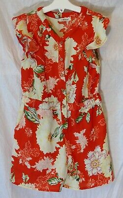 Girls River Island Red Yellow Floral Shorts Strappy Party Playsuit Age 7 Years