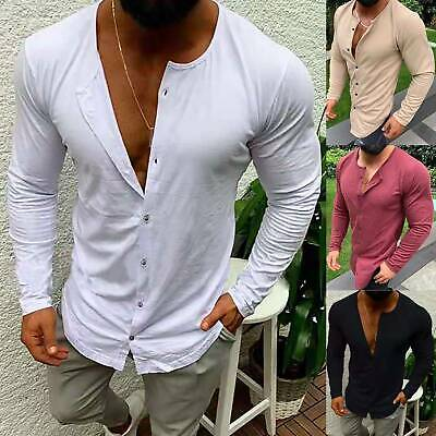 Mens Long Sleeve Shirts Solid Color Casual Button Loose Crew Neck Tops Clothes