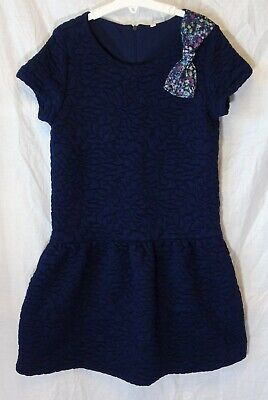 Girls M&S Blue Textured Floral Quilted Short Sleeve Smart Dress Age 11-12 Years