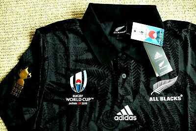 LARGE Adidas ALL BLACKS RUGBY WORLD CUP 2019 Japan POLO SHIRT New Zealand