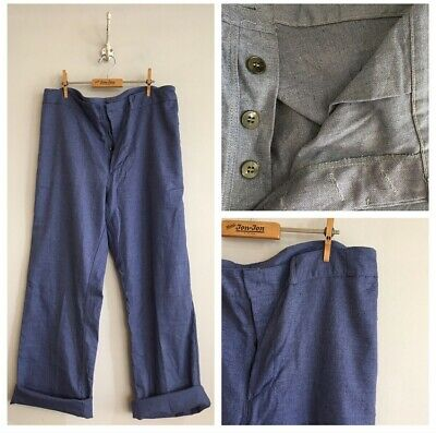 "True Vintage Cotton Chore Workwear Trousers Pants W39"" L XL"
