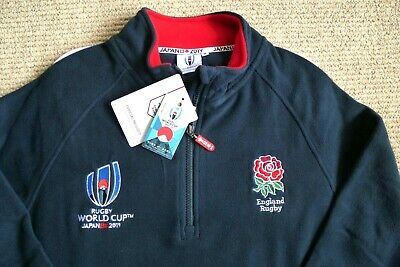 M or L Official ENGLAND RUGBY WORLD CUP 2019 Japan 1/4 Zip NAVY FLEECE
