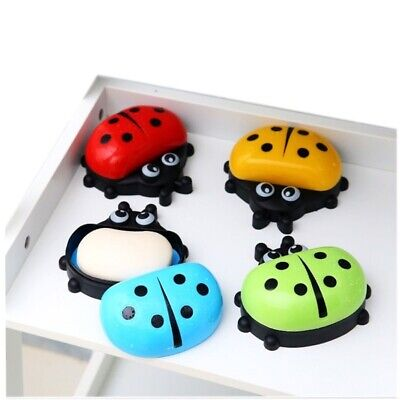 Cute ladybug with Lid Soap Dish Box Case Wash Shower Holder Container Wash Showe