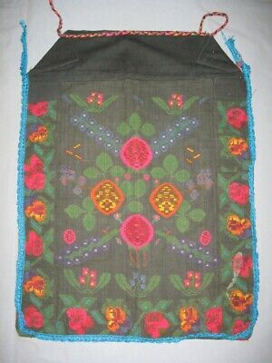 Antique Authentic Ethno Serbian Folk Hand Embroidered Woolen Apron