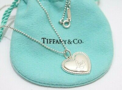 """Tiffany & Co. Sterling Silver Love Heart Bead Pendant Ball Chain Necklace 18"""""""