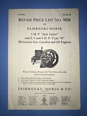 "Price List 9058 Fairbanks Morse 1 HP Jack Junior & ""H"" Gas Oil Engine Hit Miss"