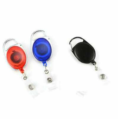 Hot Retractable Reel Keychain Pull Key ID Card Badge Tag Clip Holder Buckle UK*