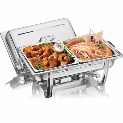 STAINLESS STEEL CHAFING DISH LARGE TWIN PAN 2x 4.25L CHAFFING WARMER WARM CATER