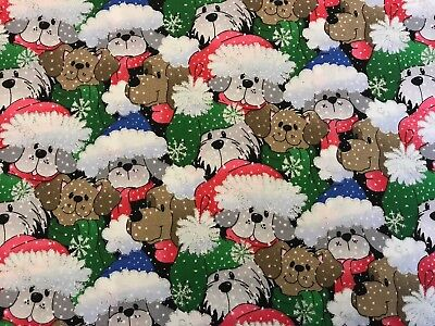 Christmas Dogs FQ Fat Quarter Fabric Glitter Snow Flakes 100% Cotton Quilting