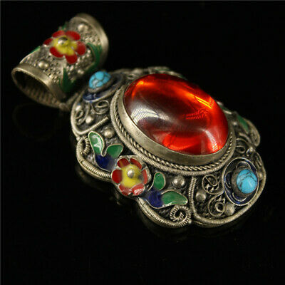 """2.76"""" Chinese Exquisite Cloisonne silver inlay Red zircon Handmade Pendant"""