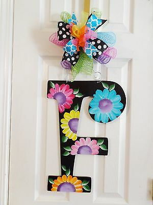 Hand painted Wood Door Hanger Any Letter Black with Flowers