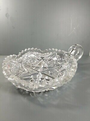 American Brilliant Period Cut Glass Nappy Handle ABP Candy Dish Tidbit 4940