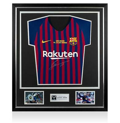 Lionel Messi Official Front Signed FC Barcelona 2018-19 Home Shirt In Classic Fr