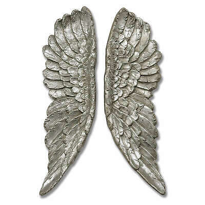 Large Wall Mounted Angel Wings 61cm Antique Silver Wall Hanging Home Deco