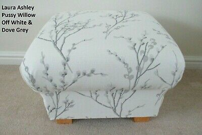 Footstool Pouffe Laura Ashley Pussy Willow Off White Dove Grey Fabric Footstall