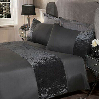 Sienna Crushed Velvet Panel Band Duvet Cover with Double, Charcoal Grey