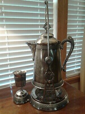 Antique  Pairpoint Mfg Quadruple Plate Tilting Presentation Water Pitcher & Mug