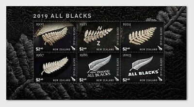 zealand 2019 RUGBY All Blacks  jersey emblazoned with the iconic silver ms6v mnh