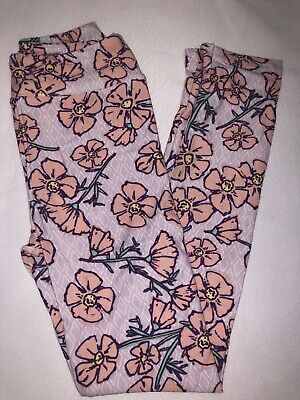 (BoxFF) LuLaRoe Kids Leggings L/XL New Light Purple White Diamonds Pink Floral
