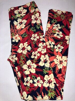 (BoxFF) LuLaRoe Kids Leggings L/XL New Navy W/ Off-White Red Coral Green Floral