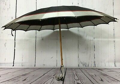 Umbrella Parasol Black Grey Plaid Stripe clear Lucite Handle Mid Century