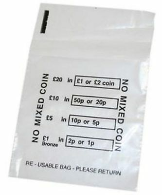 100 Plastic Coin Bags - No Mixed Coins Change Cash Retail Bag