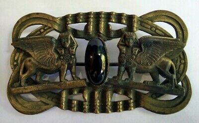 Antique 1920'S Brass Black Glass Cabochon Egyptian Sphinx Pin Brooch