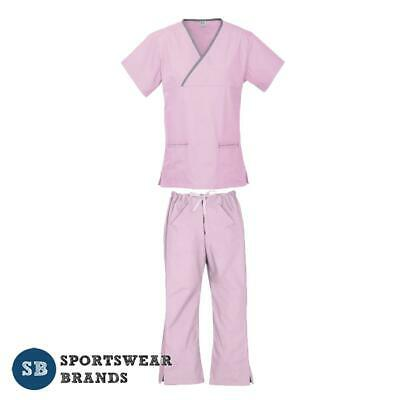 Ladies Contrast Scrub Set-Nurse Dr Vet Medical Uniform Pant Shirt New Pink Grey