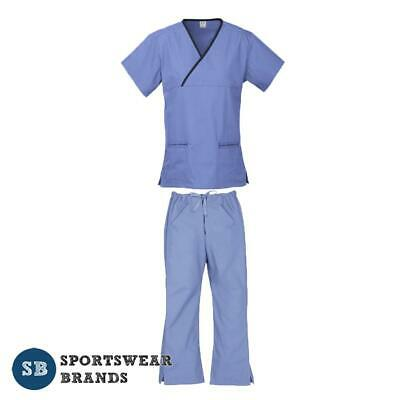 Ladies Contrast Scrub Set - Nurse Health Vet Medical Uniform Pant Shirt Mid Blue