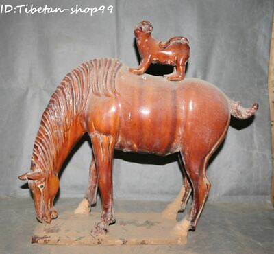 Old Pottery Porcelain Fengshui Monkey Ride Horse Horses Success Animal Statue