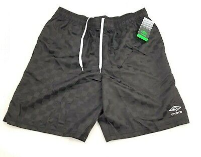 Vintage 90s Style Umbro Shorts Black Shiny Checkerboard Nylon Soccer Shorts S-L