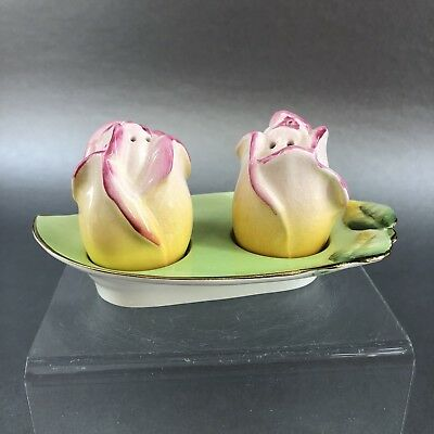 Royal Winton Art Deco Flowers Salt & Pepper Shakers Tray England Grimwade