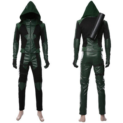Green Arrow Season 8 Oliver Queen Cosplay Costume Jacket Hoodie Outfit Full Set