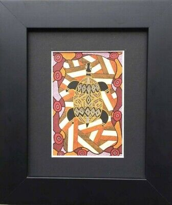 Murra Wolka Framed Aboriginal Art Print (23cm x 19cm) - Turtle