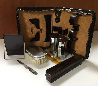 Vintage Art Deco Grooming Kit Lyall Robertson Melbourne 1940s Croc Calf Leather