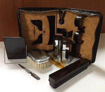 Vintage Art Deco Grooming Kit Lyall Robertson Victoria Embossed Calf Leather