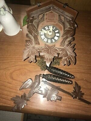 Rare Vintage Cuckoo Clock With Blue Bird And Weights For Parts Or Restoration...
