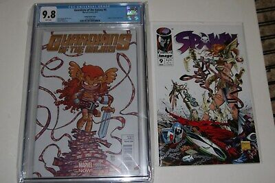GOTG #5 Skottie Young Variant CGC 9.8       AND - Spawn #9 1st Angela NM