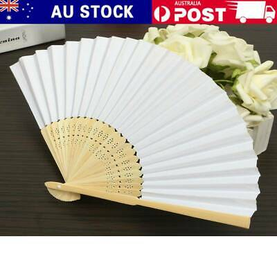 Chinese Hand Folding Bamboo Paper Fan Fans DIY Wedding Party Decor White