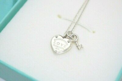 Tiffany & Co. Sterling Silver Love Heart Tag Key Pendant Necklace