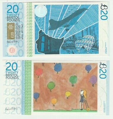 UK England Bristol £20 20 Pound UNC Local Currency Banknote 1st Series Plane