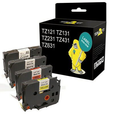 Yeti COMPATIBLE TZe LABEL TAPE fits BROTHER 9mm 12mm fits P-TOUCH H101C PT-H101C
