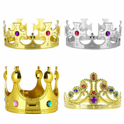 4Pcs Royal King Crowns Queen Princess Tiara Jeweled Costume Halloween Party New